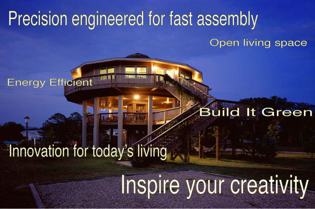 A Sand Castle Developer's Image of a precision engineered sustainable house on sustainable fiberglass composite pilings