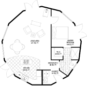 Image of large waterfront circular home dress to look like square home on sustainable fiberglass composite pilings