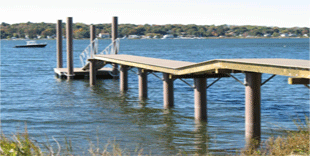 Image of a multilayer pier made of SUSTAINABLE fiberglass supported by SUSTAINABLE FIBERGLASS COMPOSITE PILINGS