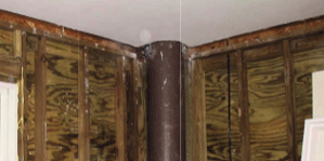 Image of inside a home supported by SUSTAINABLE fiberglass composite piling still under construction