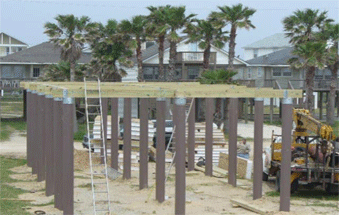 Image of unfinished pier with SUSTAINABLE FIBERGLASS COMPOSITE PILINGS