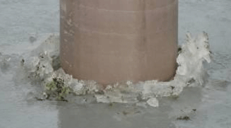 Image of a SUSTAINABLE fiberglass composite piling on solid ice