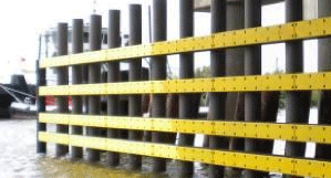 Image of a heavy duty fiberglass composite piling with a concert structure