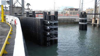 Image of boat gates made of SUSTAINABLE FIBERGLASS COMPOSITE PILINGS